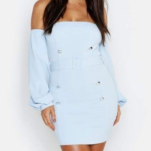 Boohoo puff sleeve off the shoulder mini dress
